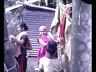 Desi group of Teen Girls Bathing Outdoor