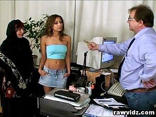 Pervert Elderly Mr Big brass Busty Teen Added to Mom Office Threesome